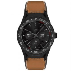 TAG Heuer Connected Modular 45 Black Case Brown Leather Strap Watch SBF8A8013.82FT6110