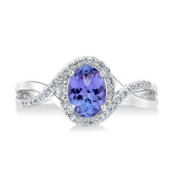 Tanzanite and Diamond Bypass Ring 1/6ctw