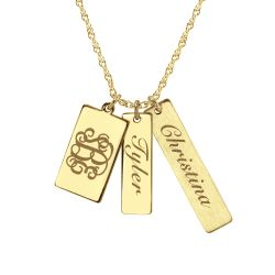 Three Piece Family Names Initials Pendant 26mm