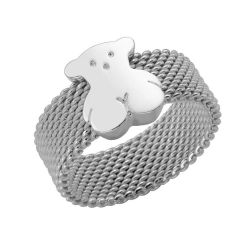 TOUS Bear Sterling Silver Mesh Ring - Size 7