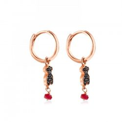 TOUS Motif Black Spinel and Ruby Bear Leverback Earrings