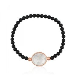 TOUS Onyx Camee Bracelet with White Mother-of-Pearl