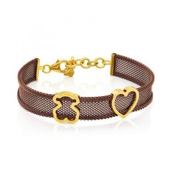 TOUS Steel and Gold-Plated Bear and Heart Mesh Bracelet