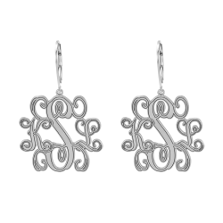 Traditional Monogram Leverback Earrings 25mm