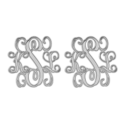Traditional Monogram Stud Earrings 20mm
