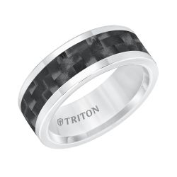 TRITON Grey Tungsten Carbide Black Carbon Inlay Comfort Fit Band 8mm