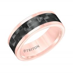 TRITON Rose Tungsten Carbide Black Carbon Inlay Comfort Fit Band 8mm