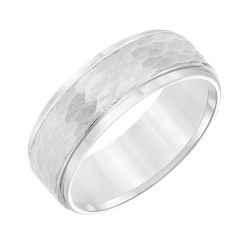 TRITON White Tungsten Carbide Hammered Texture Comfort Fit Band 8mm