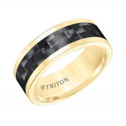 TRITON Yellow Tungsten Carbide Black Carbon Inlay Comfort Fit Band 8mm
