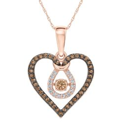 Twinkling Natural Champagne Diamond Heart Pendant 3/8ctw
