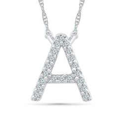 White Gold Diamond Uppercase Initial A Pendant 1/20ctw