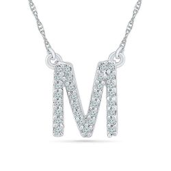 White Gold Diamond Uppercase Initial M Pendant 1/15ctw