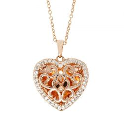 With You Lockets Mary White Topaz Rose Gold-Plated Heart Locket