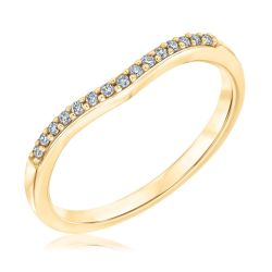 Ellaura Embrace Yellow Gold Curved Diamond Band 1/10ctw