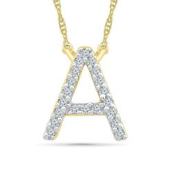 Yellow Gold Diamond Uppercase Initial A Pendant 1/20ctw