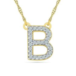 Yellow Gold Diamond Uppercase Initial B Pendant 1/15ctw