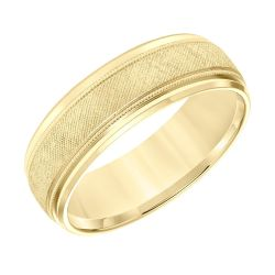 REEDS Priority Yellow Gold Engraved Milgrain Comfort Fit Band, 7mm