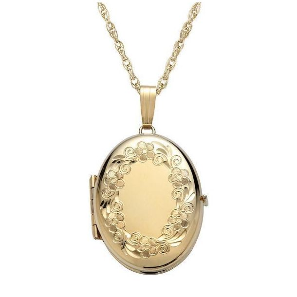 20 14k Yellow Gold-Filled Engraved Four-Picture Heart Locket Necklace