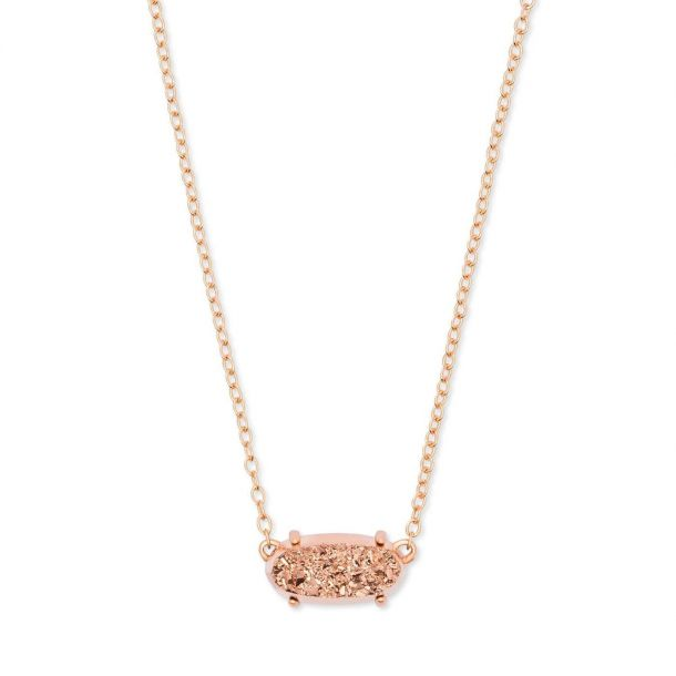 Kendra Scott Ever Pendant Necklace in Rose Gold-Tone Drusy, Rose Gold-Plated