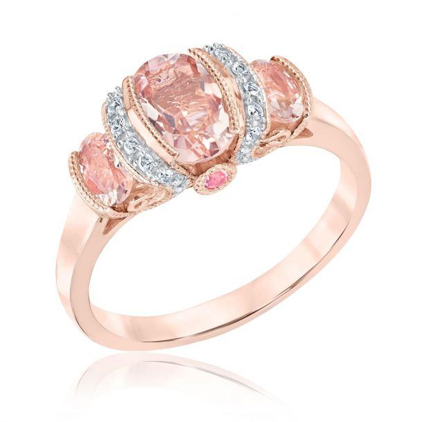 Morganite Pink Tourmaline White Sapphire Ring