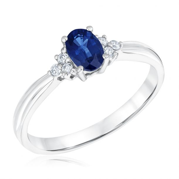 Oval Blue Sapphire And Diamond Accent Ring Reeds Jewelers