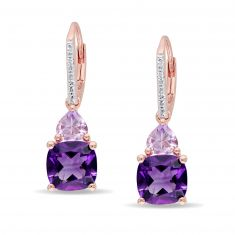 Amethyst, Rose de France Amethyst, and Diamond Leverback Earrings