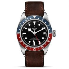 Black Bay GMT Black Dial Brown Leather Strap Watch M79830RB-0002