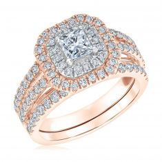 Ellaura Blush Princess Center Multi-Diamond Engagement and Wedding Ring Bridal Set 1 1/2ctw