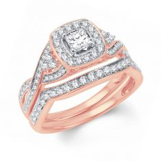 Ellaura Blush Princess Diamond Cushion Halo Engagement and Wedding Ring Bridal Set 1ctw