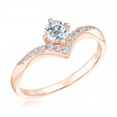 Ellaura Blush Rose Gold Round Diamond Chevron Engagement Ring 1/2ctw