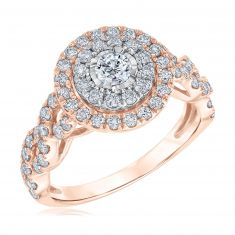 Ellaura Blush Round Diamond Double Halo Twist Engagement Ring 1 1/4ctw