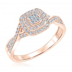 Ellaura Blush Round Diamond Multi-Top Twist Band Engagement Ring 1/2ctw