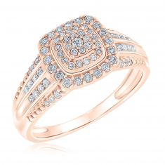 Ellaura Blush Round Multi-Row Rose Gold Engagement Ring 1/2ctw