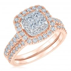 Ellaura Blush Princess Diamond Cluster Engagement and Wedding Ring Bridal Set 1 1/5ctw