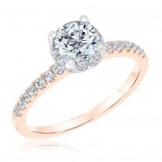 Ellaura Blush Two-Tone Round Halo Diamond Engagement Ring 1 1/8ctw