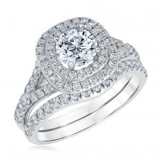 Exclusive REEDS ECONIC Lab Grown Diamond Double Halo Engagement and Wedding Ring Bridal Set 2ctw
