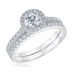 Exclusive REEDS ECONIC Lab Grown Diamond Halo Engagement and Wedding Ring Bridal Set 1 1/4ctw