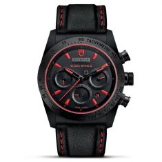 Fastrider Black Shield Black and Red Leather Strap Watch M42000CR-0002