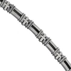 Men's Stainless Steel and Black Ion-Plated Bracelet