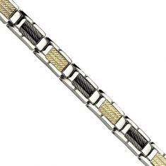 Men's Tri-Tone Stainless Steel Cable Chain Link Bracelet