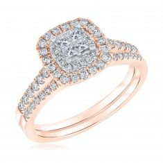 Ellaura Blush Multi-Top Princess Diamond Engagement and Wedding Ring Bridal Set 5/8ctw