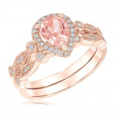 Ellaura Blush Pear Morganite Gemstone Engagement and Wedding Ring Bridal Set 1/5ctw