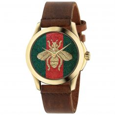 Previously Owned Gucci G-Timeless Bee Brown Leather Strap Watch YA126451