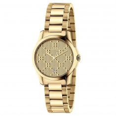Previously Owned Ladies' Gucci G-Timeless Gold-Tone Diamante Dial Watch YA126553