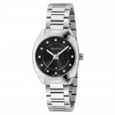 Previously Owned Ladies' Gucci GG2570 Black Diamond Dial Stainless Steel Watch YA142503