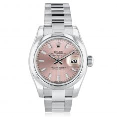 Previously Owned Ladies' Rolex Oyster Pink Dial Perpetual Datejust Watch 179160AB7