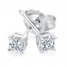 Classic Princess Diamond Solitaire Earrings 1/5ctw