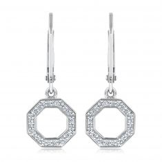 REEDS Exclusive Stop Collection Diamond Octagon Leverback Earrings 1/8ctw