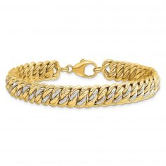 REEDS TRUE ITALY Two-Tone Gold Fancy Polished Wide Link Bracelet