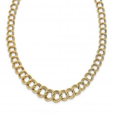 REEDS TRUE ITALY Yellow Gold Fancy Graduated Double Link Chain Necklace